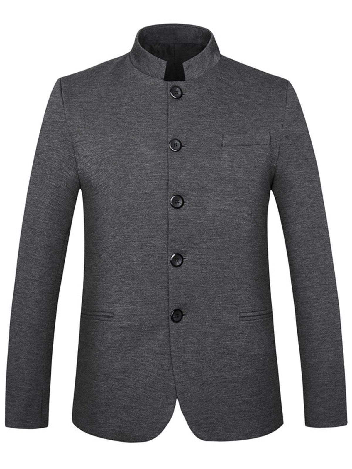 Buy Mandarin Collar Single Breasted Edging Blazer