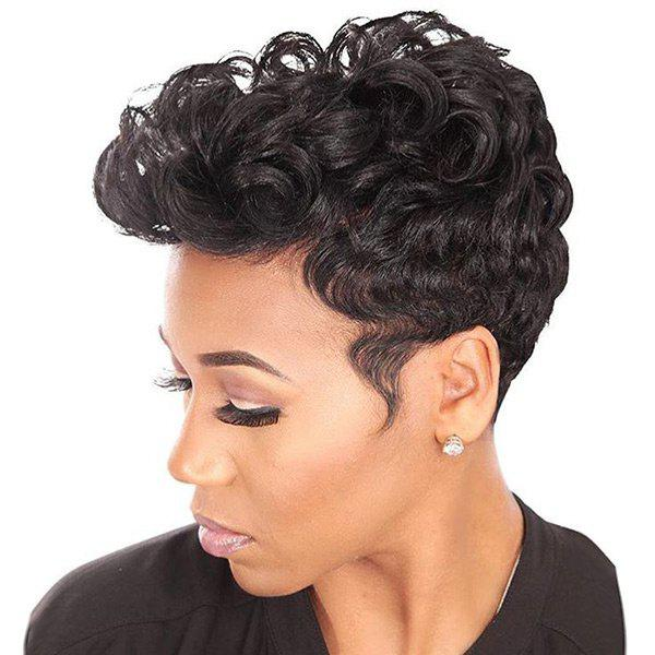 Fancy Short Inclined Bang Fluffy Curly Human Hair Wig