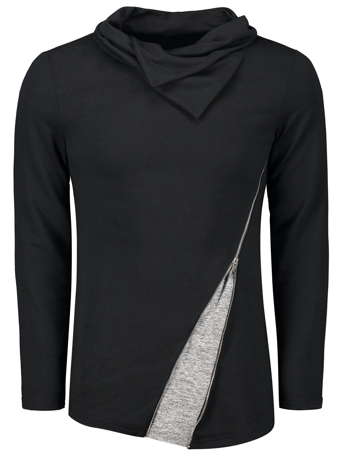 Affordable Heaps Collar Inclined Zip T-shirt