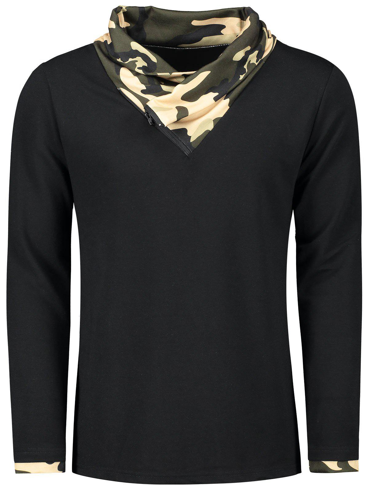Hot Camouflage Heaps Collar Long Sleeve T-shirt