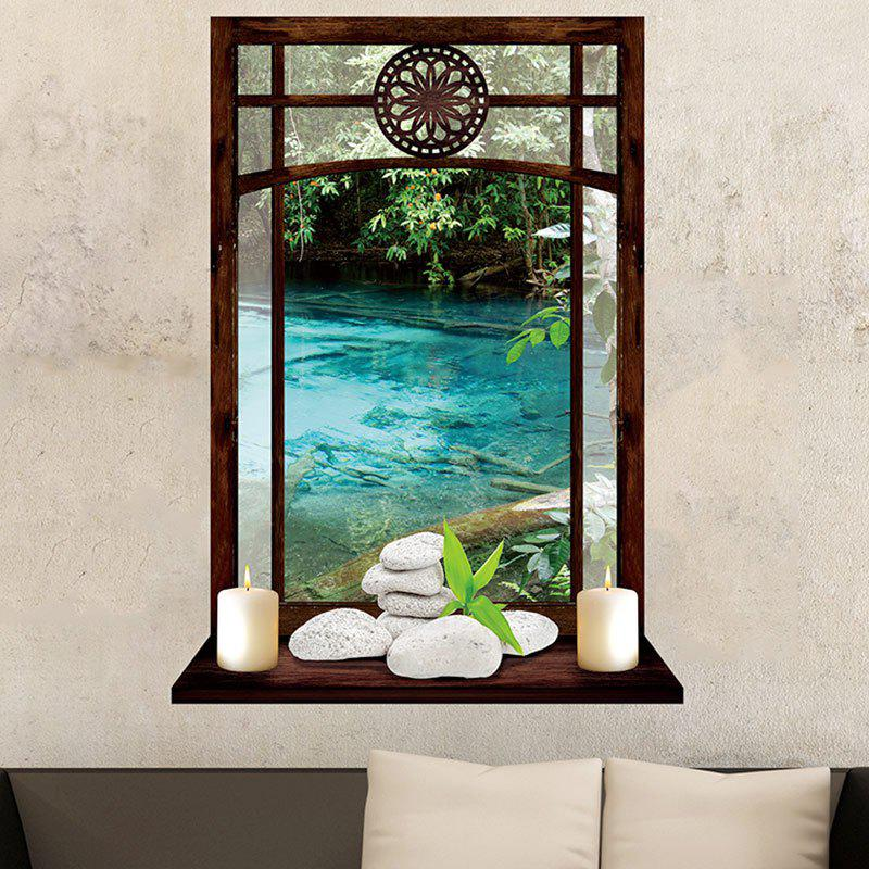 Vintage Window and Candles River Print Wall Art Sticker thumbnail
