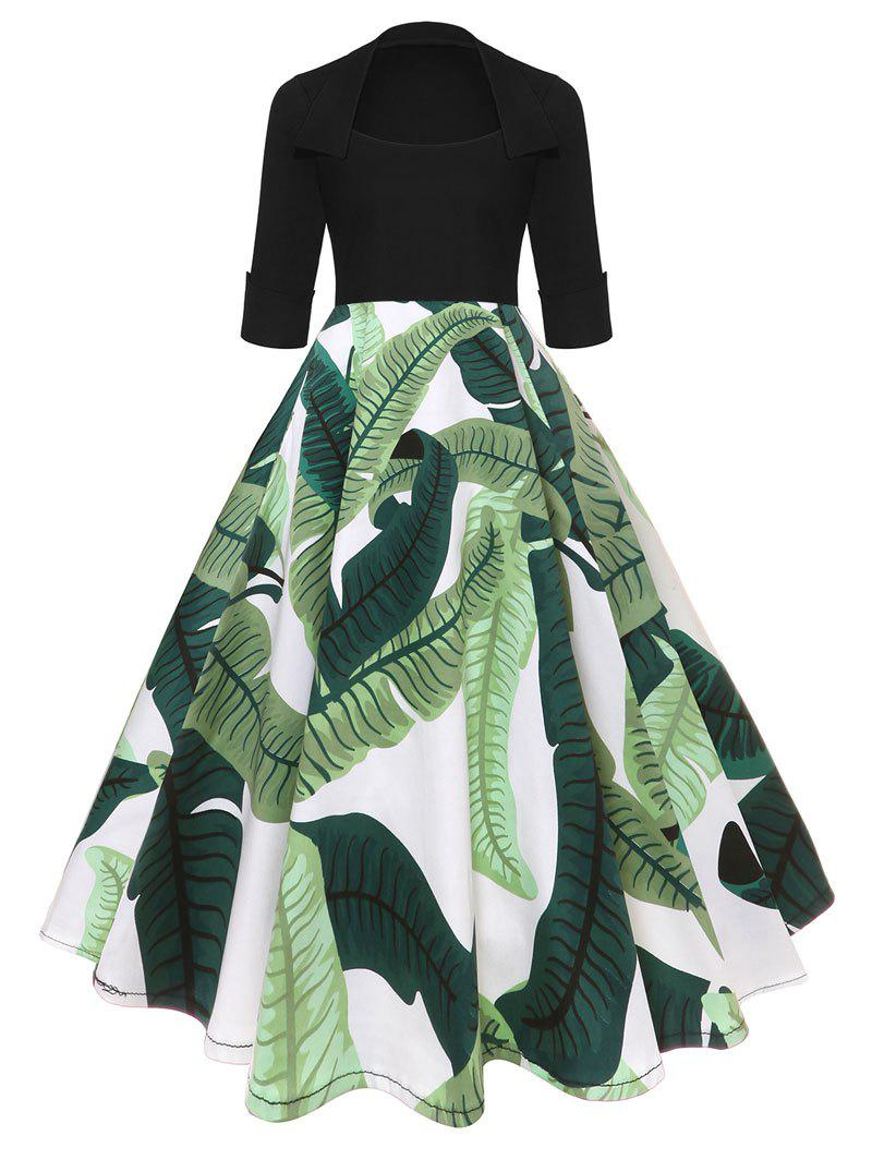 Outfit Tropical Leaf Print High Flare Dress