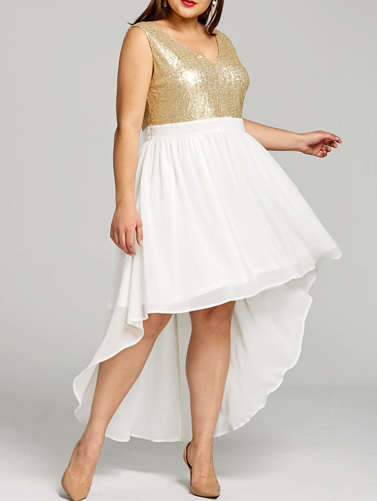 Hot Plus Size Sparkly High Low Hem Dress