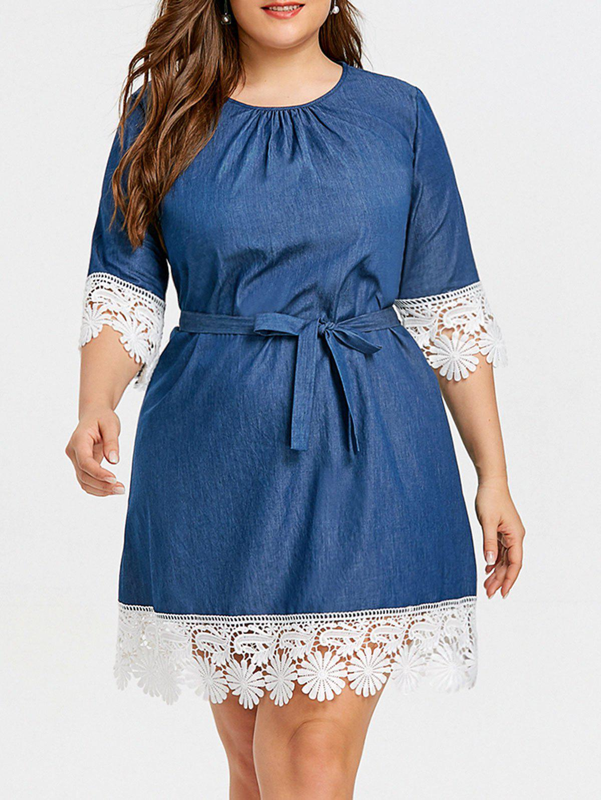 Hot Casual Plus Size Lace Trim Dress