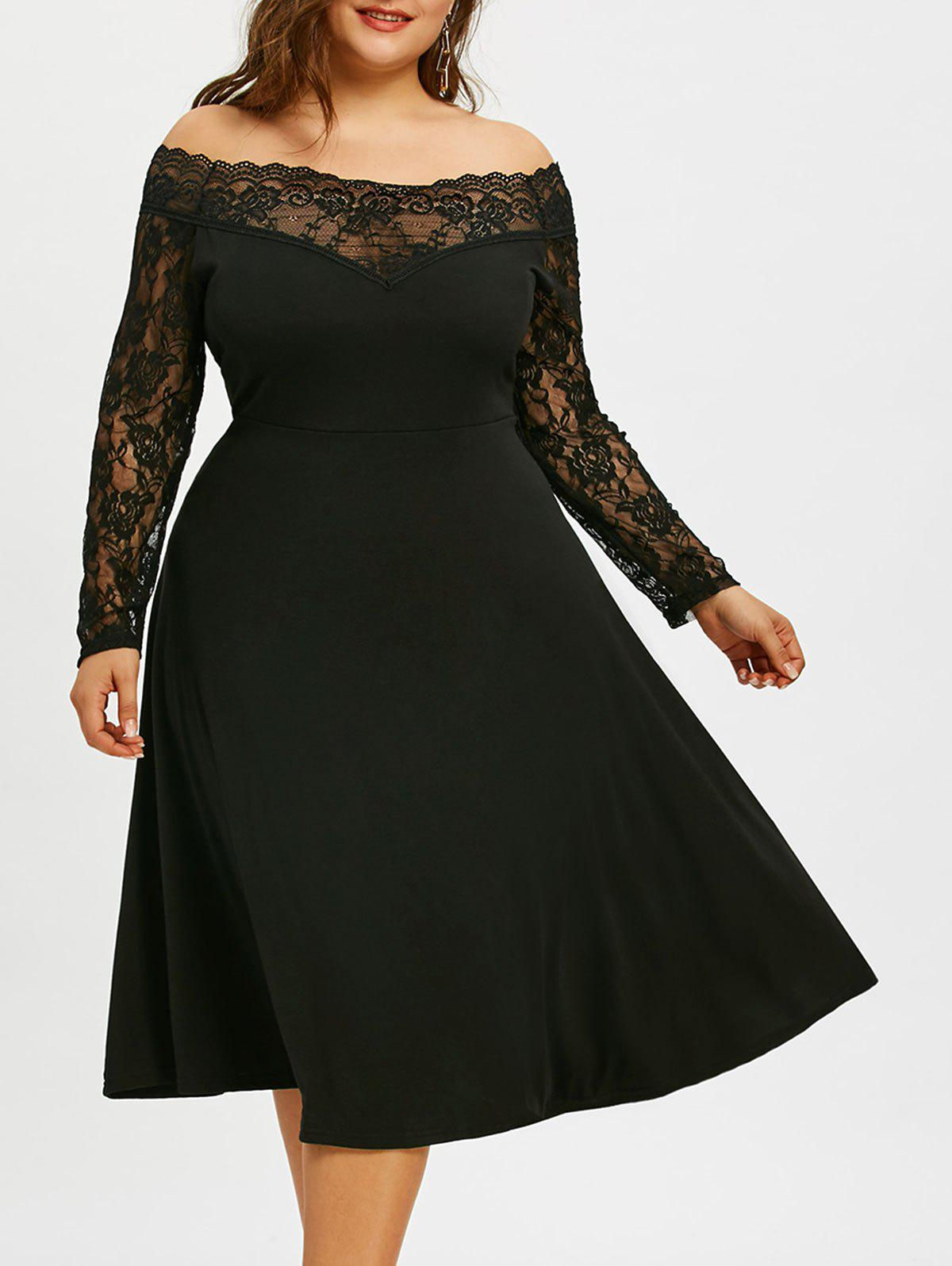 Latest Off The Shoulder Plus Size Lace Sleeve Dress