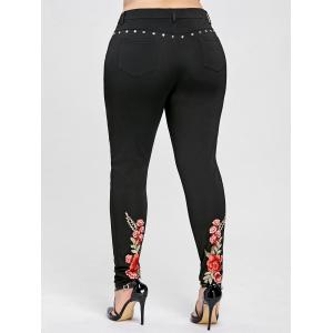 Floral Embroidery Rivet Plus Size Pencil Pants -