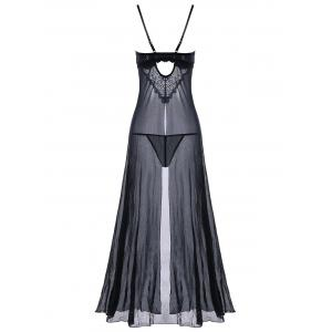 Front Slit Sheer Longline Babydoll Dress -