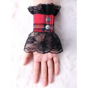 Plaid Lace Panel Fingerless Gloves -