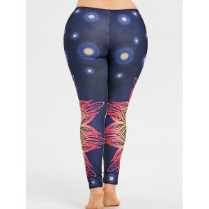 Plus Size Colored Floral Pattern Yoga Leggings -