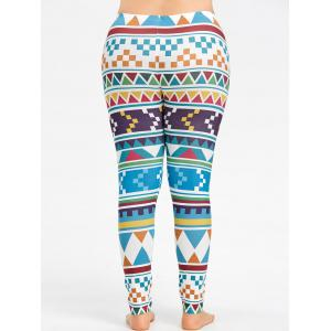 Plus Size Geometric Pattern Workout Tights -