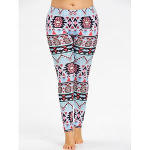 Plus Size Tribal Geometric Sports Leggings -