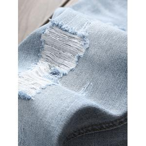 Frayed Raw Hem Distressed Jeans -