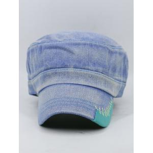 Outdoor Line Embroidery Adjustable Denim Military Hat -