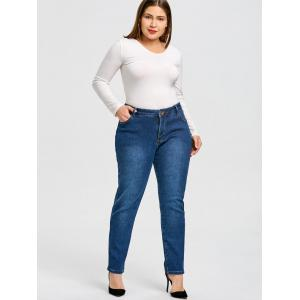 Plus Size Fleece Lined Jeans with Pockets -