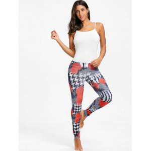Houndstooth Floral Print Rose Leggings -