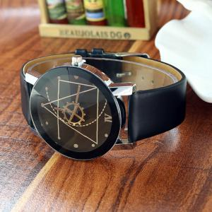 Steel Strap Geometric Face Quartz Watch -