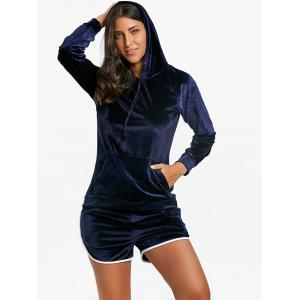 Kangaroo Pocket Velvet Hoodie and Dolphin Shorts -