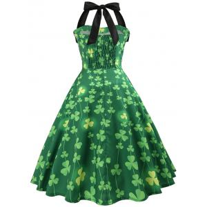 Vintage Smocked Pin Up Halter Party Dress -