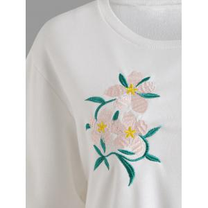 Sweat-shirt Brodé Floral Grande Taille -