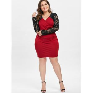 Lace Insert Surplice Ruched Plus Size Dress -