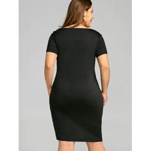 Robe T-Shirt Rayée à Manches Courtes Grande-Taille -
