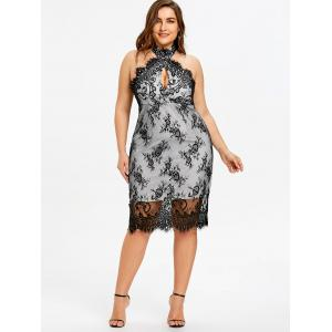 Robe de Cocktail à Superposition en Dentelle à Dos Nu Grande Taille -