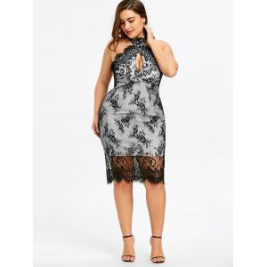 Plus Size Backless Cocktail Lace Overlay Dress -