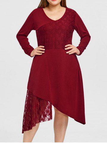 Plus Size Lace Trim Long Sleeve Dress