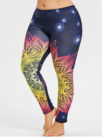 Outfits Plus Size Colored Floral Pattern Yoga Leggings