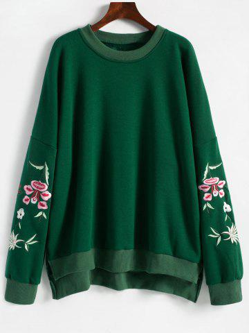 Latest Embroidered Plus Size Fleece Lined  Sweatshirt