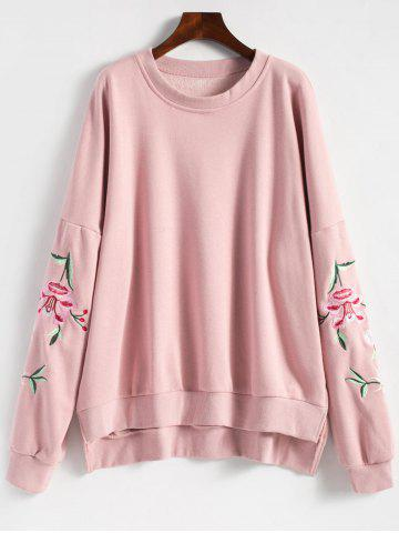 Hot Embroidered Plus Size Fleece Lined  Sweatshirt