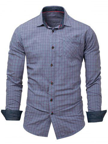 Chest Pocket Grid Long Sleeve Shirt