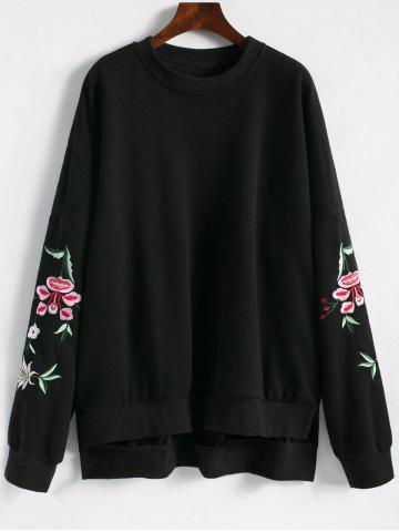 Unique Embroidered Plus Size Fleece Lined  Sweatshirt