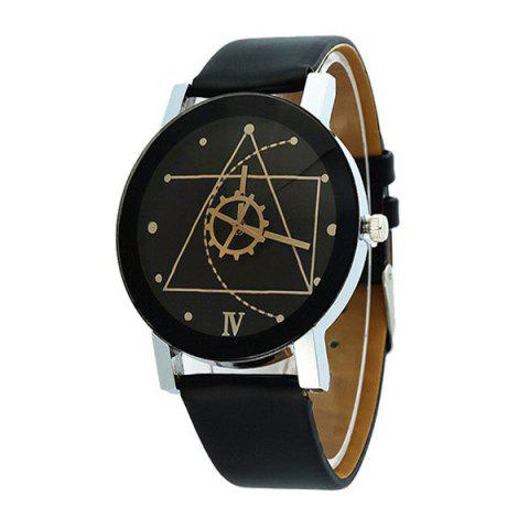 Discount Steel Strap Geometric Face Quartz Watch