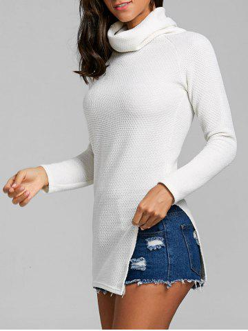 Discount Cowl Neck Side Slit Tunic Sweater