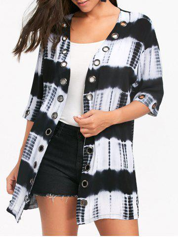 Cheap Metal Grommet Insert Tie Dyed Print Shirt Cardigan