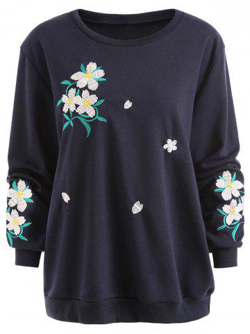 Affordable Floral Embroidered Plus Size Sweatshirt
