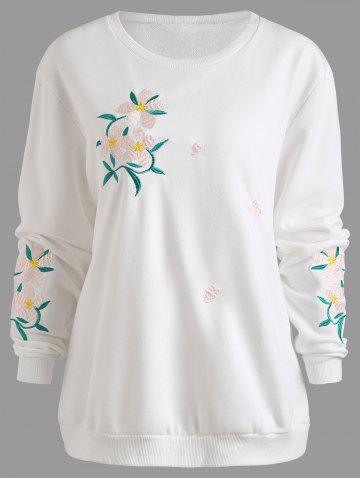 Sweat-shirt Brodé Floral Grande Taille