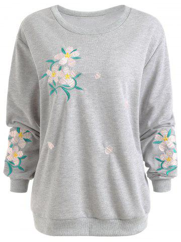 Chic Floral Embroidered Plus Size Sweatshirt
