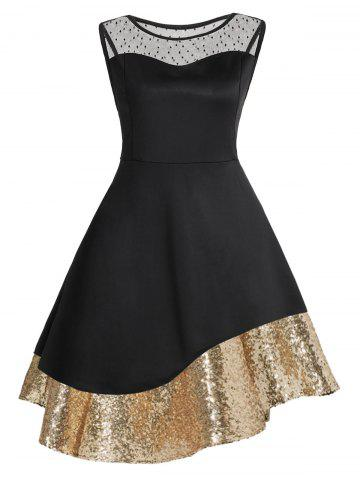 Store Plus Size Sequins Mesh Panel Cocktail Dress