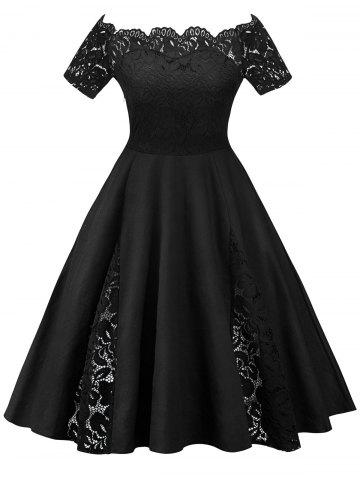 e67f73b0762 Lace Panel Off The Shoulder Plus Size Dress