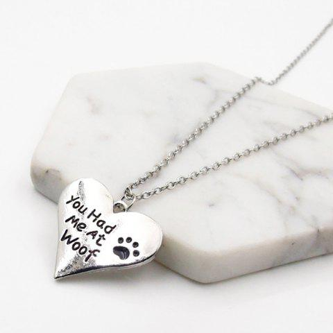 Cheap Heart Engraved Love Claw Footprint Necklace