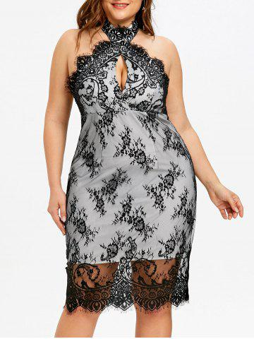 Fashion Plus Size Backless Cocktail Lace Overlay Dress