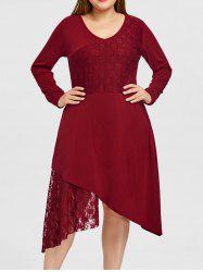 Plus Size Lace Trim Long Sleeve Dress -