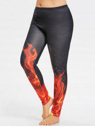 Fire Pattern Plus Size Yoga Tights -