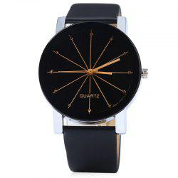Ray Face Faux Leather Strap Watch -