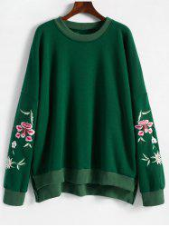 Embroidered Plus Size Fleece Lined  Sweatshirt -