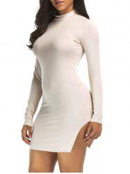 Slit High Neck Bodycon Mini Dress -
