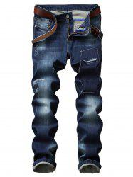 Faded Wash Patches Detail Straight Leg Jeans -