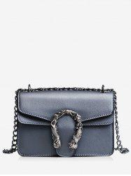 Flap Chain Metal Embellished Crossbody Bag -